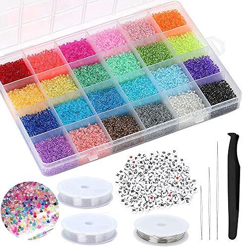 Queta Abalorios para Hacer Pulseras,Cuentas de Colores 2mm,24 Colores Mini Cuentas de Cristal,Regalo para niños Hacer Joyas de Bricolaje Collares Pulseras,24000pcs