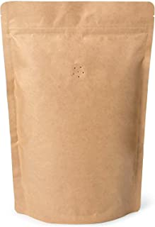 12oz Coffee Bags 100 Pieces - High Barrier Natural Kraft Paper Stand up Ziplock Pouches Bags with Valve & Zipper (100 Pcs,...