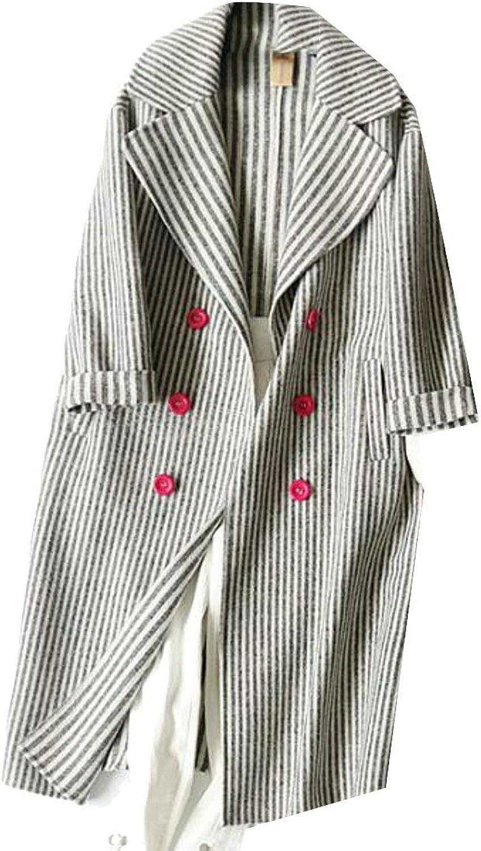 Joe Wenko Women's Double Breasted Loose Outwear Striped WoolBlend Winter Peacoats