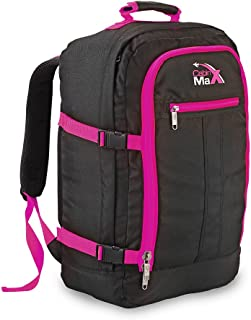 Cabin Max Carry On Travel Backpack Flight Approved 44L 56x36x23cm (Black Pink)