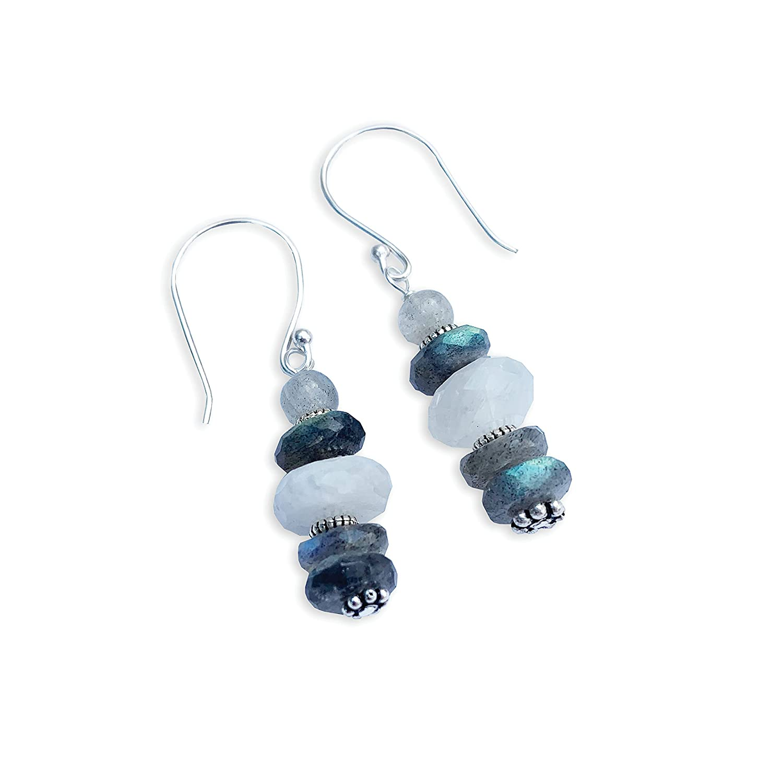 Joyfulmuze Labradorite and Rainbow Healing Earrings C Selling NEW Moonstone