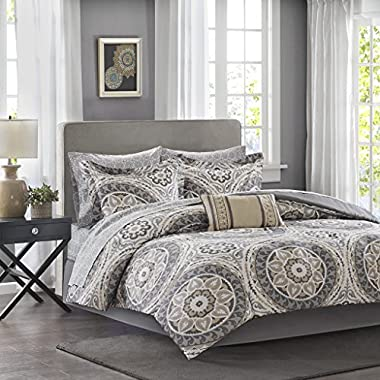 Madison Park Essentials Serenity Queen Size Bed Comforter Set Bed in A Bag - Taupe, Medallion – 9 Pieces Bedding Sets – Ultra Soft Microfiber Bedroom Comforters