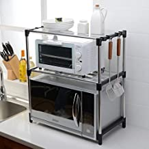 FEI Teng 3 Shelves Stainless Steel Height-Adjustable Oven Cutlery Kitchen Storage Rack (Color : Black, Size : B)