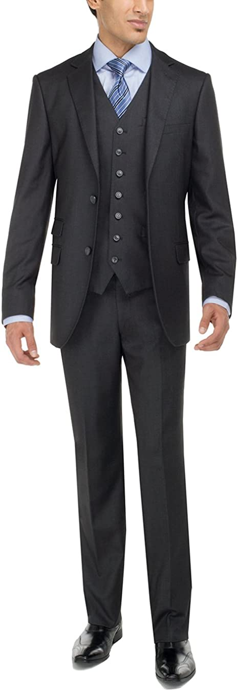Luciano Natazzi Men's Two Button 3 Piece Vested Suit Set Bird's Eye Modern Fit