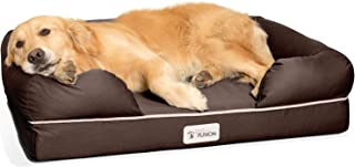 """PetFusion Ultimate Solid 4"""" Waterproof Memory Foam Dog Bed for Medium & Large Dogs (36x28x9"""" Orthopedic Dog Mattress; Brow..."""