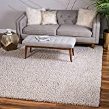 Unique Loom Davos Collection Modern Luxuriously Soft & Cozy Shag Area Rug, 8' 0 x 8' 0 Square, Linen