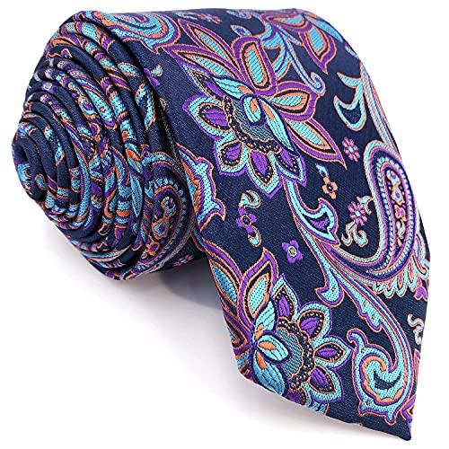 S&W SHLAX&WING Conjunto de corbatas para hombre Corbatas de colores azules Corbata extra larga floral fucsia púrpura