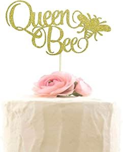 Queen Bee Cake Topper, Mother's Birthday Party Decor, Mom's Birthday Topper, Mother's Day Party Decorations (Gold Glitter)