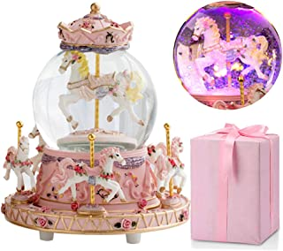 LOVE FOR YOU Carousel Music Box Luxury Color Change LED Light Luminous Rotating 6-Horse Carousel Horse Music Box Home Decor Ornament,Best Birthday Gift for Kids,Girls(Plays You are My Sunshine, Pink)