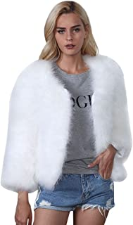 Women Winter Faux Fur Ostrich Feather Soft Thick Fur Coat Jacket Fluffy