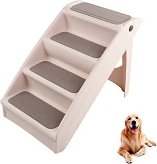 Pet Stairs 4 Steps Folding Dog Ladder Cat Ramps for High Bed Sofa Tall Couch Chair Car Indoor Kitten Puppy Walk Indoor Out...