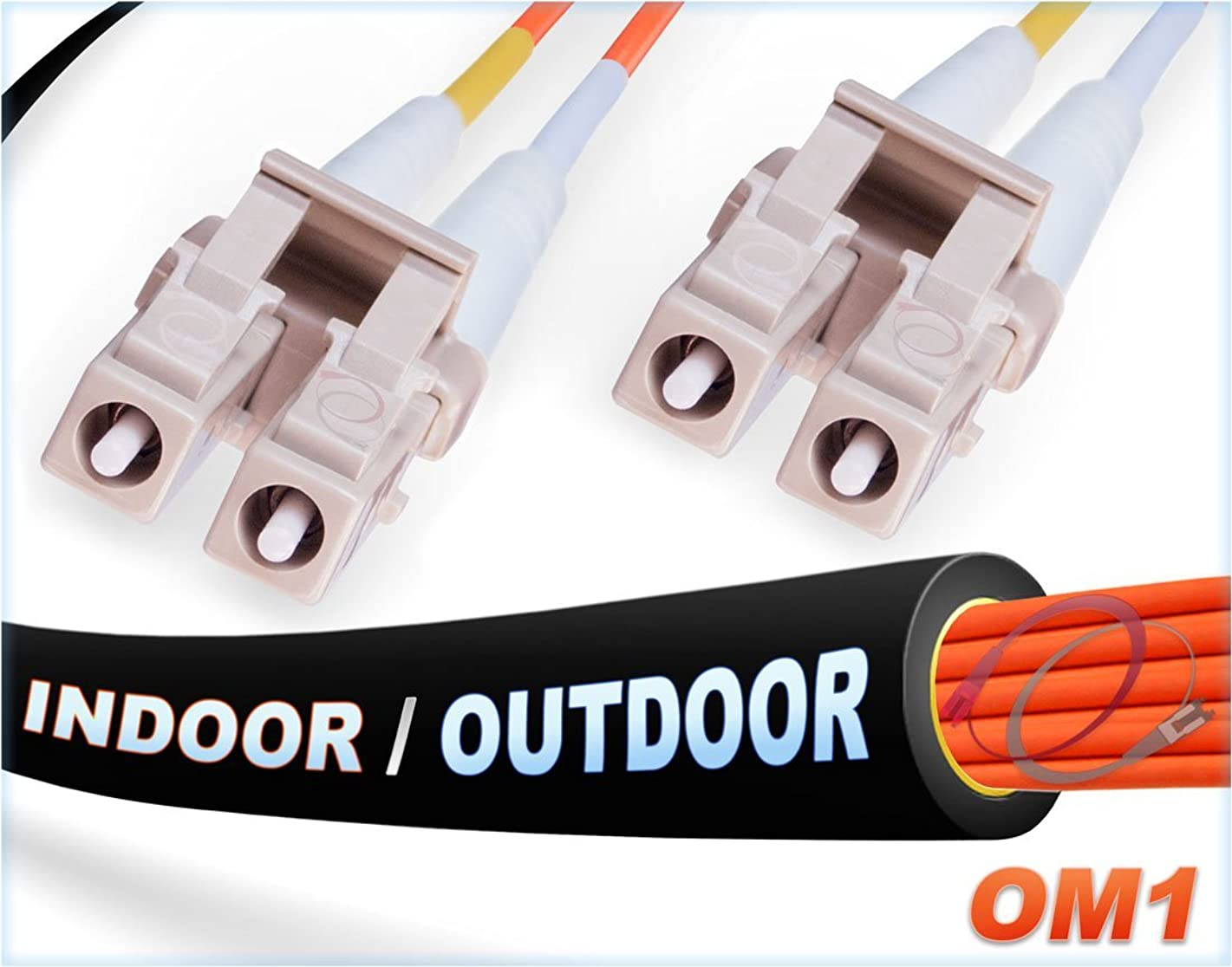 FiberCablesDirect -15M OM1 LC LC Fiber Patch Cable   Indoor/Outdoor 1Gb Duplex 62.5/125 LC to LC Multimode Jumper 15 Meter (49.21ft)   Length Options: 0.5M-300M   1/10g sfp 1gbase mm ofnr Black lc-lc