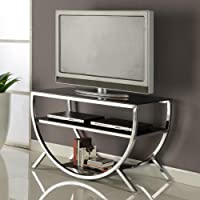 Kings Brand Furniture Metal with Glass Top & Shelves TV Stand