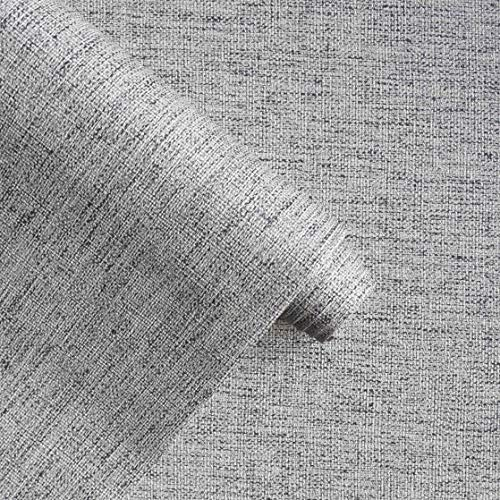 """Gray Peel and Stick Wallpaper - Grey Linen Removable Paper - Faux Textured Grasscloth Vinyl Film, Waterproof Self-Adhesive Stick on Wallpaper for Room Furniture Decoration, 15.7""""×78.7"""" Thickest"""