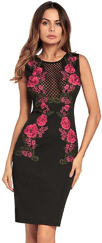 63c3d856df80b Women Round Neck Sleeveless Embroidery Hollow Bodycon Midi Dress ...