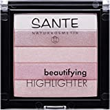 SANTE Naturkosmetik Beautifying Highlighter, 02 Rose, 5 Pudernuancen, Bio-Extrakte & Macadamiaöl,...