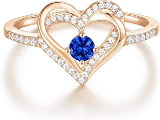Forever Love Heart Birthstone Ring for Women 925 Sterling...