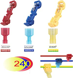 240Pcs Wire Tap Connectors, 24-10 AWG T Tap Connector Self Stripping Wire Quick Disconnect Spade Terminals