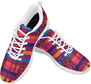 Zenzzle Women's Lightweight Breathable Shoes Womens Walking Sneakers Colorful Geometric Pattern African Palm Size US6-12