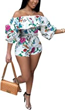 Deloreva Women Sexy One Piece Romper Outfits Pull Sleeve Floral Print Off Shoulder Short Jumpsuit Pants Set