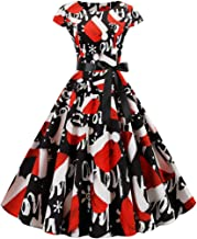 God's pens Women Christmas Dress Vintage Round Neck Short Sleeve 1950s Housewife Party Prom Evening Dress with Belt