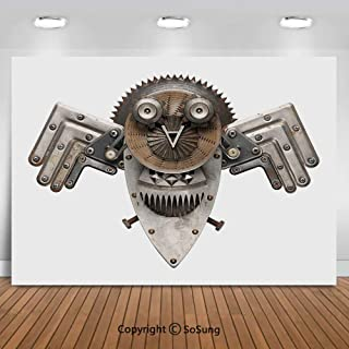 8x8Ft Vinyl Industrial Backdrop for Photography,Stylized Collage with Owl Figure Cog Hardware Gear Machinery Animal Print Decorative Background Newborn Baby Photoshoot Portrait Studio Props Birthday P
