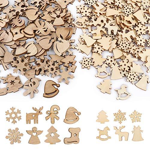 UFLF 200 Pz Decorazioni Natalizie Legno Ornamenti Natalizi Decorazioni Legno Natale Addobbi Natalizi Legno DIY Artigianato