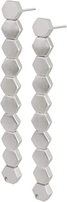 Sence Copenhagen - Orecchini lunghi da donna in argento – Shadow Earrings con ciondolo esagonale – G207