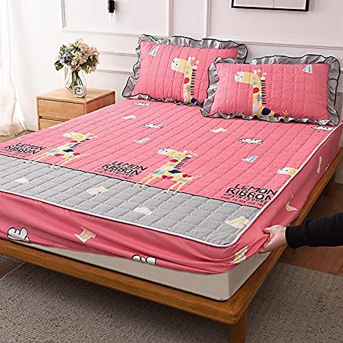 Sábanas ajustablesperfecto para el colchón, sensación suave, ,Sábanas Ajustables Acolchadas Y Cepilladas, Almohadilla De Protección Antideslizante Para Apartamento De Dormitorio-Pink_2_120cmx200cm