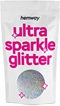 Hemway Silver Holographic Premium Glitter Multi Purpose Dust Powder 100g / 3.5oz for use with Arts & Crafts Wine Glass Dec...