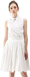 Women's White Eyelet Embroidered Pleated Midi A-line Skirt