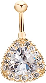 CEYIYA Sparkly AAA CZ Belly Button Ring - Surgical Steel Vibrant Navel Rings 18k Gold Plated Ideal Gift for Women/Men/Girls,Belly Piercing Jewelry
