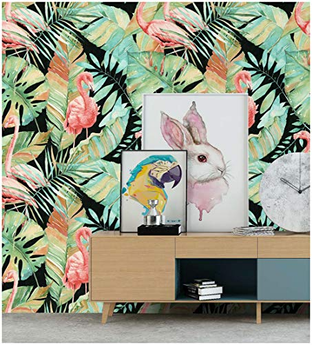 HaokHome 690702 Large Roll 20.8'x 33ft Tropical Banana Leaf Wallpaper Flamingo Birds Wallpaper Palm Tree Leaves for Home Wall Decor