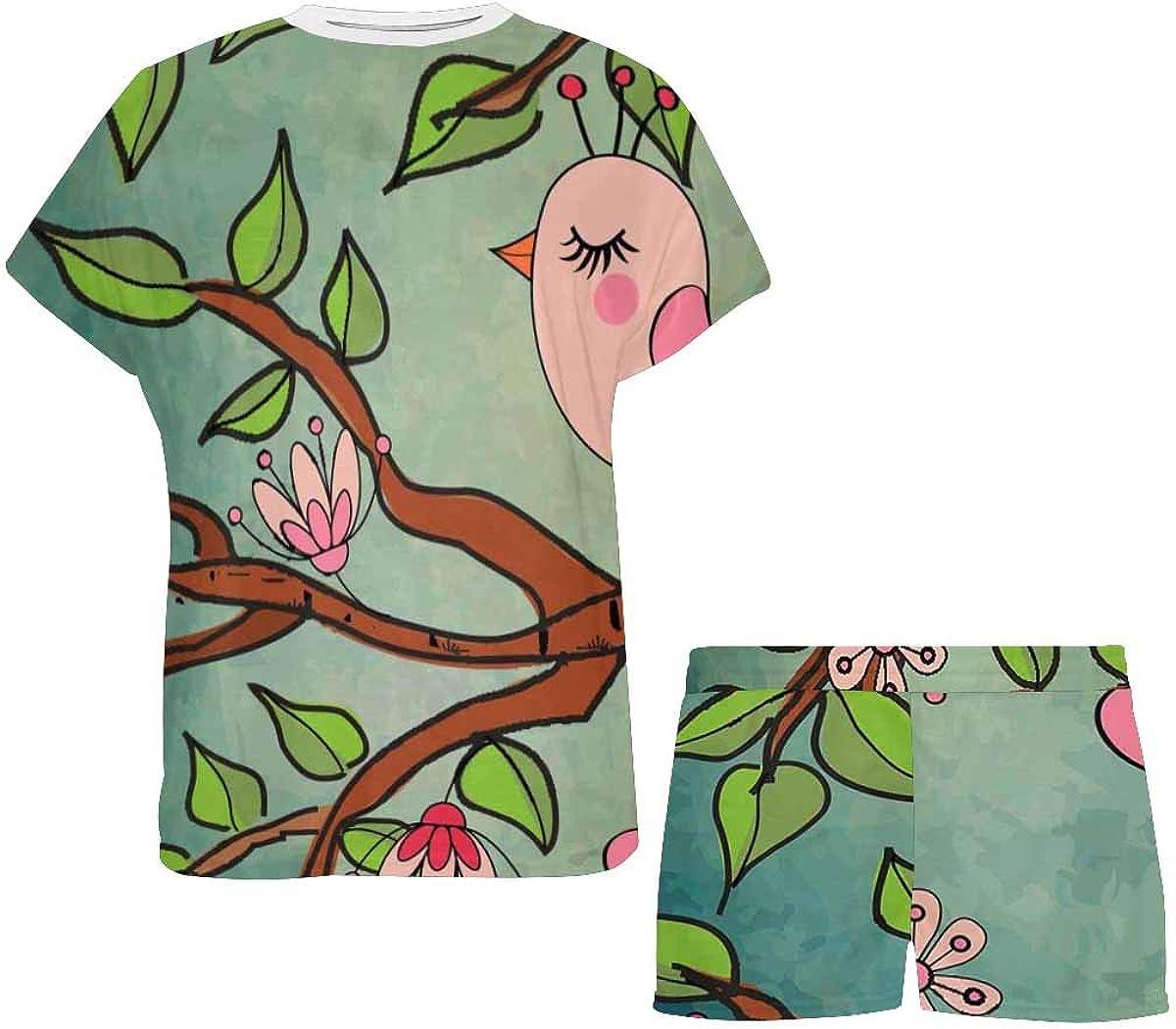 INTERESTPRINT Cute Bird Perched on Flowering Tree Women's Pajama Sets Short Sleeve Shorts - Pajamas for Women