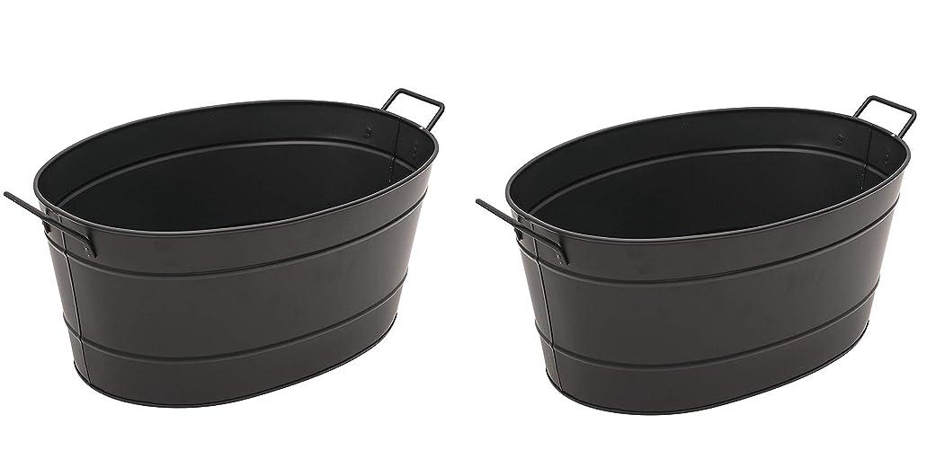 パッチ甘い完全にMinuteman International Achla Designs ブラック 楕円形 亜鉛メッキスチール浴槽 Pack of 2