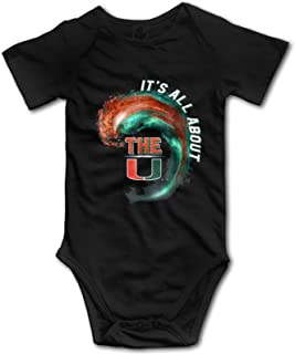 Miami Hurricanes Wave - All About The U Baby Bodysuit Onesies Newborn Short Sleeve Jumpsuit Toddler Pants Unisex 0-2t