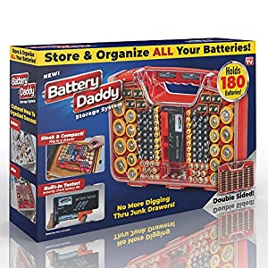 Battery Organizer: Just what you need! Get this compact and portable way to organize, store and protect a boatload of batteries! Clear locking lid lets you see everything at a glance and prevent any unwanted contact. Includes battery tester Sleek and...