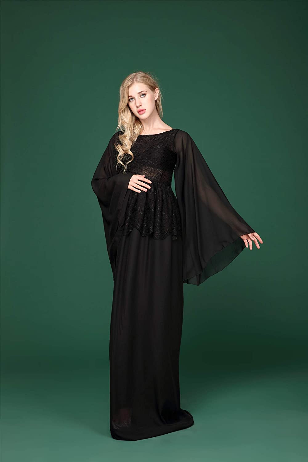 Elegant Photography Maternity Wrap Dress Pregnant Women Long Maxi Gown Floral Lace Long Sleeve Black