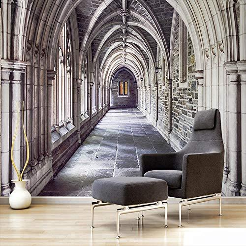 Msrahves Fotomural TV Columna romana iglesia arquitectura moderno 200X100CM Fotomural TV Foto Mural Pared 3DFotomurales decorativos Papel tapiz estéreo 3D Fotomurales 3D Fotomural Vinilo Papel Pintado