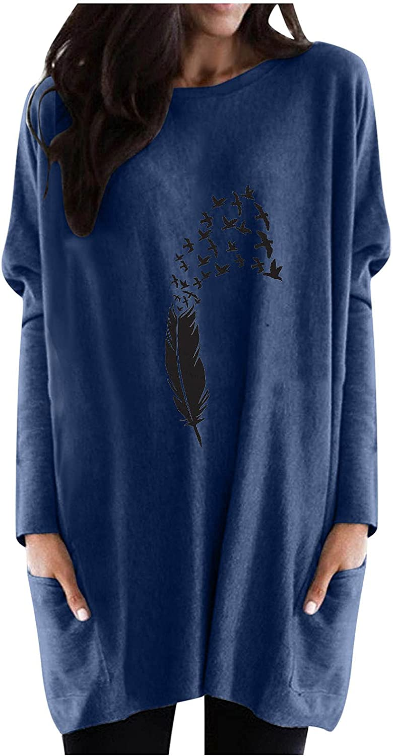 Hemlock Women O Neck Print Tops Long Sleeve Sweater Soft Blouse Fall Pullovers Outwear with Pcokets