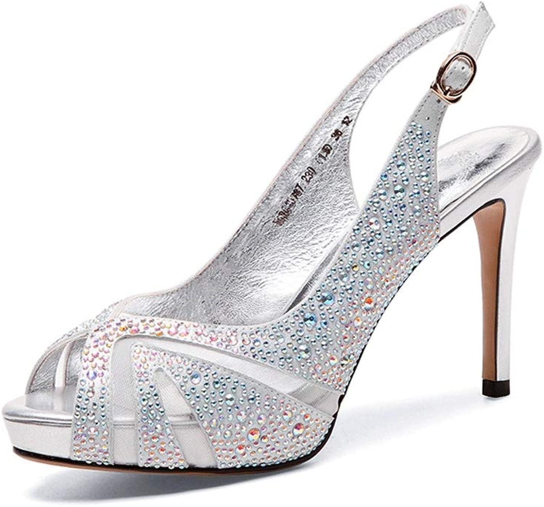 FengQingy Open Toe Strass High Heel Damen Plattform Stiletto Sandalen (Farbe   Silber, gre   38 2 3 EU)