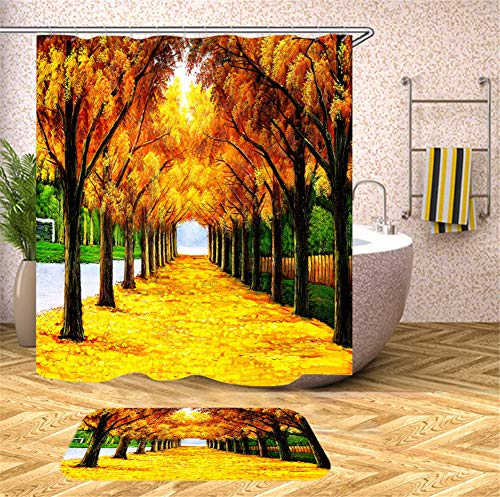 ZZZdz Hand Gezeichnete Waldweg-Gelbbäume. Duschvorhang. Wasserdicht. Einfach Zu Säubern. 180X180Cm. Teppich. Plus Samt. 40X60Cm. Badezimmerzubehör.