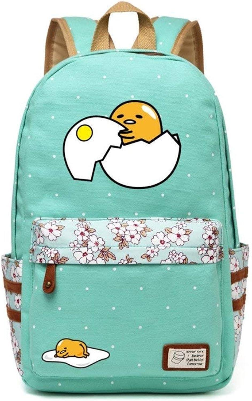 Lounayy Lazy Egg Flowers Bag Men Point Cartoon Fashion School Backpack Rucksack Wave School Bag Travel Girl Bookbag (color   Green3, Size   One Size)