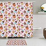 RUBEITA 2-teiliges Duschvorhang-& Matten-Set,Rosa Küchen-Cupcakes-Muffins drucken,rutschfeste Teppiche,wasserdichte Badvorhänge mit 12 Haken