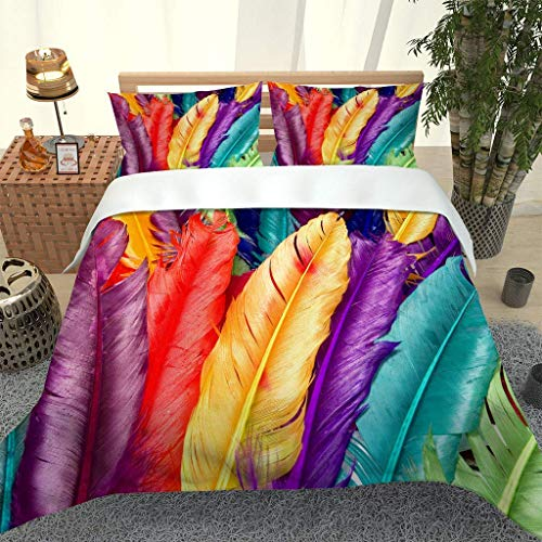 788 DRIVICO Duvet Cover Set. Easy Care And Super Soft Microfiber Design. Color Feather Pattern Printed Patterned.Zipper Closure.Anti-Allergic.Bedding Set-Size:200X200 Cm + 2 Matching Pillowcase
