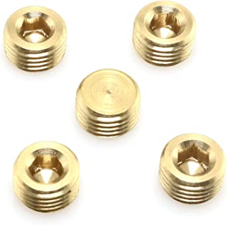 DGZZI 5pcs Gold Tone Brass Pipe Fitting, Hex Counter Sunk Plug, 1/4 Inch NPT Male Pipe