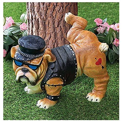 Yuemei Halloween Französische Bulldogge Dekofigur Figur, Nordic Pinkelnde Englische Bulldogge Statue Deko Dekohund Hund Dekoartikel Skulptur