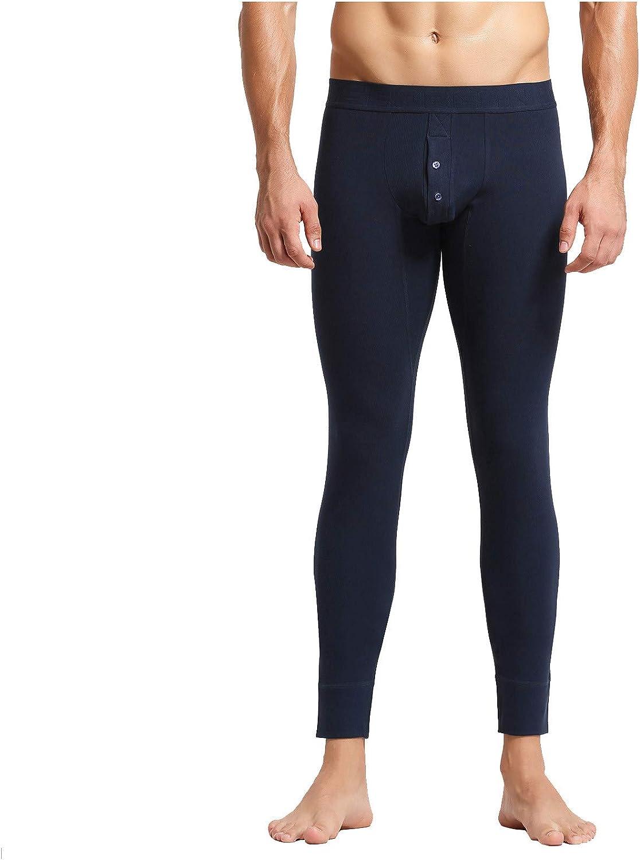 Nopeak Men's Solid Color Sports Leggings,Warm Long Johns Panties,Cotton Breathable Underwear for Men