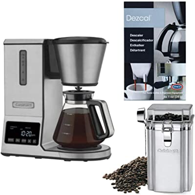 Cuisinart CPO-800 8-Cup PurePrecision Pour Over Coffee Brewer with Descaling Powder and Coffee Canister Bundle (3 Items)