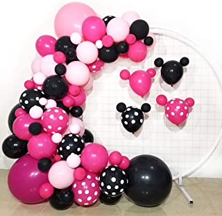 FUNPRT Minnie Balloon Garland DIY- Rose Red Black Pink Latex Balloons for Mickey Mouse Clubhouse Minnie Mouse Theme Party ...